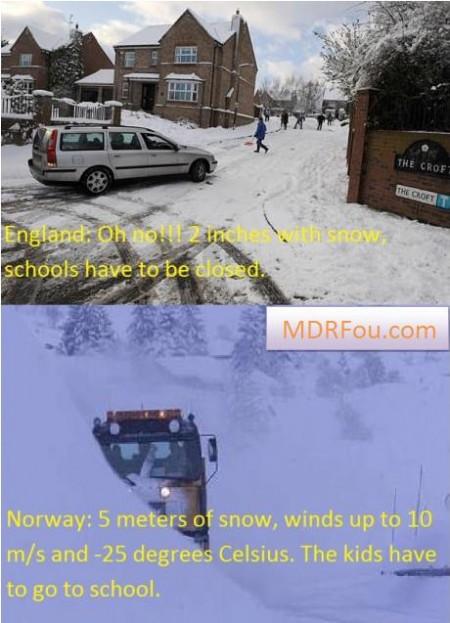 Quand il neige en Angleterre et en Norvege