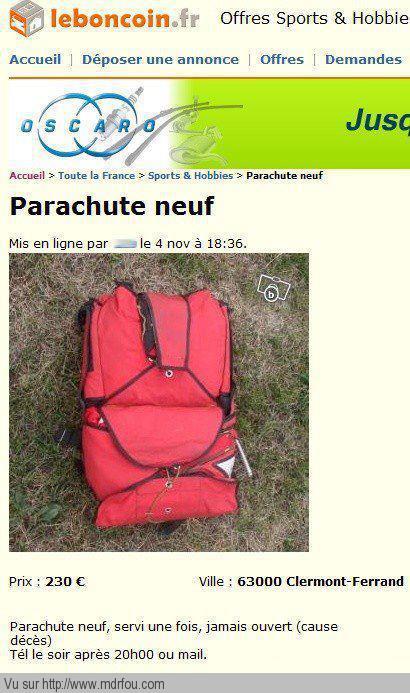 Parachute servi une fois jamais ouvert