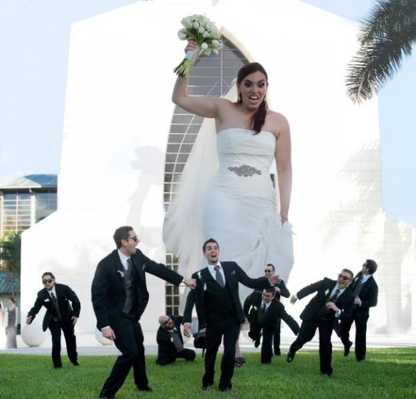 Montage photo avec une mariée géante