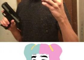 Le selfie de boloss avec un téléphone Hello Kitty